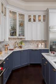 white cabinets on top blue on bottom 25 stylish and inspiring blue and white kitchens digsdigs
