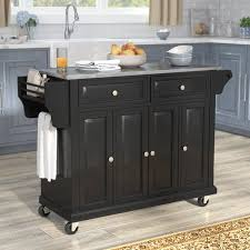 steel top kitchen island darby home co pottstown kitchen island with stainless steel top
