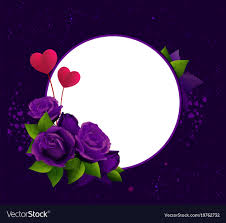 purple roses purple roses and two heart shape symbol vector image