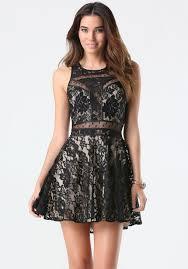 bebe mix media lace dress in black lyst
