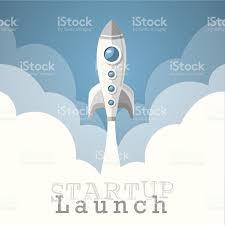 rocket startup project launch wallpaper vector illustration stock