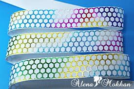 honeycomb ribbon glitter glitz multicolor ed honeycomb on white grosgrain ribbon 3