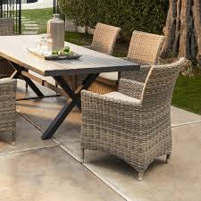 Artificial Wicker Patio Furniture - belham living bella all weather wicker 7 piece patio dining set