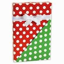 reversible green polka dots gift wrap wrapping