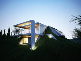 creatively semi buried home rises from the earth like art earth