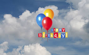 happy birthday flying balloons blue sky clouds hd widescreen
