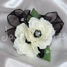 Wrist Corsage Supplies Zoe Wrist Corsage White Anemone With Black By Josiesposiesuk