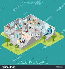 hospital clinic interior rooms flat 3d stock vector 350709821