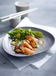 rezepte sterneküche graved lachs asia style mit rucola mango salat rezept lecker