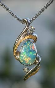 natural white opal alaskan gold nugget diamond necklaces pendants