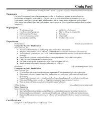 Resume Nail Technician Resume Maintenance Technician Resume Summary Computer Repair