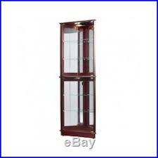 Tall Corner Display Cabinet Curio Display Cabinet Glass Shelves 5 Mirrored Lighted Tall Furniture