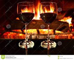 romantic dinner wine fireplace royalty free stock photos image