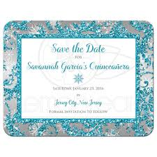Sweet 15 Invitation Cards Quinceañera Save The Date Card Winter Wonderland Turquoise