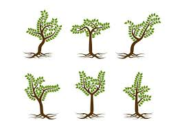 free unique tree with roots vectors free vector