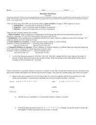 gene mutation worksheet worksheets
