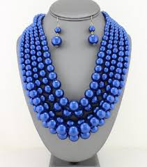 blue pearl necklace images Multi strand layered pearl necklace set royal blue jpg