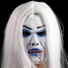 horrible toothy white long hair ghost face mask halloween costume
