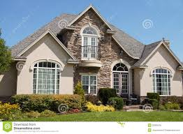 stucco stone house pretty windows royalty free stock image image
