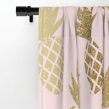 Pink And Gold Curtains Pink Gold Pineapples Window Curtains By Tanyalegere Society6