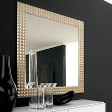 framed bathroom mirror ideas grey finish varnished wooden vanity