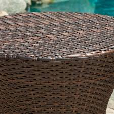 Brown Wicker Patio Furniture Amazon Com Townsgate Outdoor Brown Wicker Hourglass Side Table