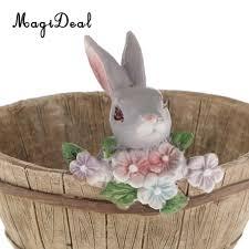 magideal cute rabbit shape flowerpot vintage home decor book case