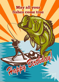 happy birthday card bass fly fisherman on boat catching
