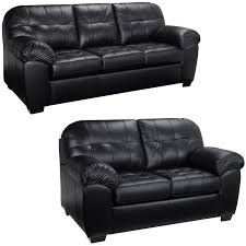 Commando Black Sofa Furniture Italian Dark Black With Tufted Leather Loveseat For