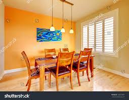 Floor Dining Table Orange Dining Room Wood Table Hardwood Stock Photo 106424897