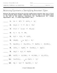 identifying and balancing chemical equations worksheet answers