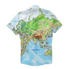 Map Of The World Shower Curtain by World Map Short Sleeve Button Down Shirt Shelfies