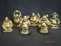 set of small golden buddha statues