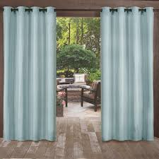 2 Tone Curtains Biscayne Pool Blue Indoor Outdoor 2 Tone Textured Grommet Top
