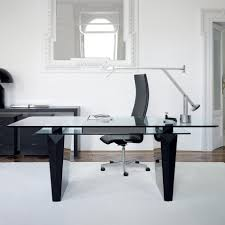 Modern Glass Desk With Drawers Cozy Office Furniture Modern Glass Desks For Office Decor Cool