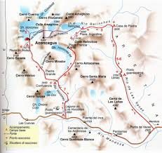 Map A Walking Route by Climb Mount Aconcagua Trek Adventure Alternative