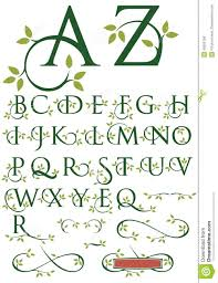 ornate swash alphabet with leaves stock vector image 48506106