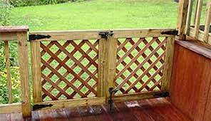 deck design with wooden gate landscaping and outdoor building