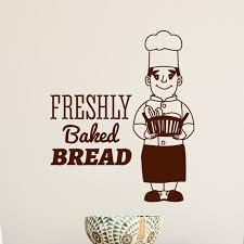 Ent Mural Cuisine Boulangerie Vinyle Sticker Cuire Chef Baker Homme Fraîchement