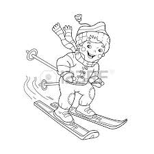 coloring page outline of cartoon boy riding on skis winter sports