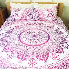 Quilted Duvet Cover King Ombre Mandala Boho Duvet Cover King Indian Quilt Cover Cotton
