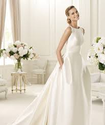 Satin Wedding Dresses Simple Pockets Satin Sweep Brush Imported Taffeta Straps Ball Gown