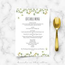 menu templates for weddings wedding reception menu cards