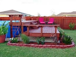 Backyard Above Ground Pool Ideas Pool Deck Landscaping Ideas