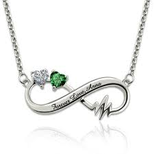 birthstones necklace for heartbeat infinity birthstone necklace jewelry for couples