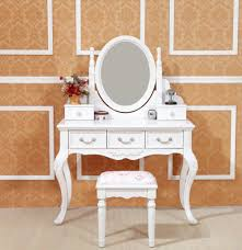 Small White Vanity Table Bedroom Small Unique White Dressing Table With Oval Mirror And