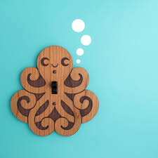 wood octopus switchplate kids nursery wall light switch plate