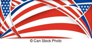 vector illustration of usa glass letters with flag background