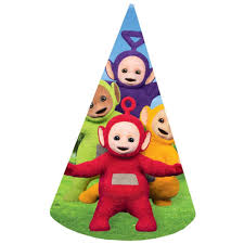 party hats teletubbies cone party hats pack of 8 partyrama