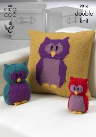 Patterns For Knitted Cushion Covers Double Knit Dk Knitting Pattern King Cole Owl Cushion Cover Toy